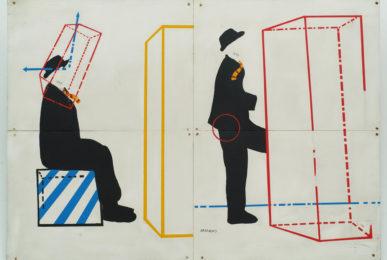 Aldo Spoldi, Il naso (Banda del marameo),1968-'69, tecnica mista su tavola,140x100cm