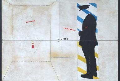 Aldo Spoldi Il naso-Banda del marameo 1969 tecnica mista su tavola, 100 x 140 cm