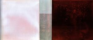 F. Marrocco, Tracce, anemino, 2009, tecnica mista su tela, 100x230 cm