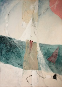 Mario Raciti, Mitologia, 1983, tecnica mista intelaiata, 100x80 cm