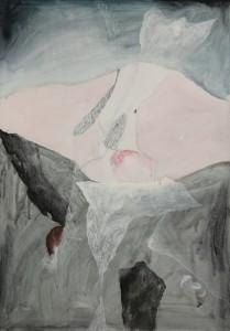 Mario Raciti, Presenze Assenze,1981, tecnica mista su tela, 100x70 cm